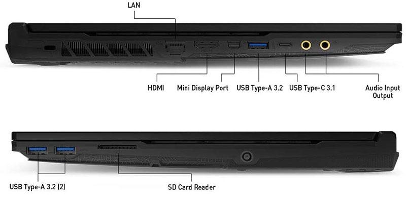 MSI Leopard laptop ports